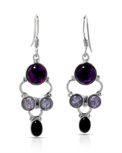 Brand New Earring with 8.64ctw of Precious Stones - amethyst, sapphire, and tanzanite 925 Silver sterling silver
