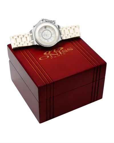 Oniss ON669L/IVY PARIS Brand New Swiss Movement date Watch with 0ctw of Precious Stones - crystal and mother of pearl