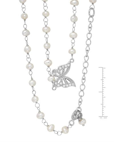 Millana Brand New Necklace with 0ctw of Precious Stones - cubic zirconia and pearl 925 Silver sterling silver