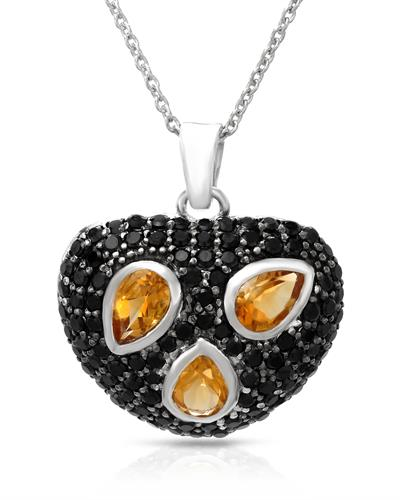 Brand New Necklace with 2.94ctw of Precious Stones - citrine and spinel 925 Silver sterling silver