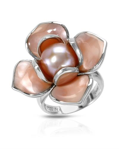 PEARL LUSTRE Brand New Ring with 0ctw of Precious Stones - mother of pearl and pearl 925 Silver sterling silver