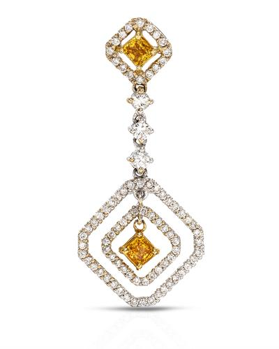 Brand New Pendant with 1.02ctw of Precious Stones - diamond and diamond 18K Two tone gold