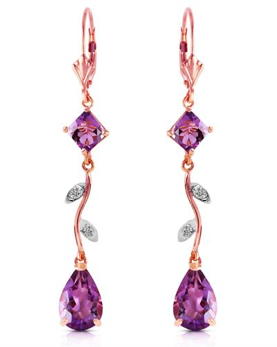 Magnolia Brand New Earring with 3.97ctw of Precious Stones - amethyst and diamond 14K Rose gold