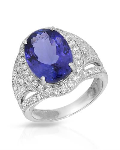 Brand New Ring with 6.55ctw of Precious Stones - diamond and tanzanite 14K White gold