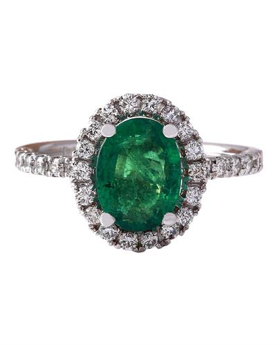 2.63 Carat Natural Emerald 14K Solid White Gold Diamond Ring