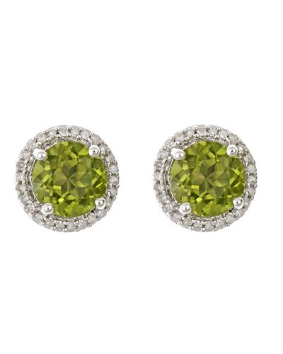Brand New Earring with 3.06ctw of Precious Stones - diamond and peridot 925 Silver sterling silver