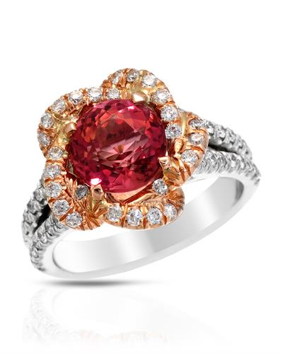 Brand New Ring with 3.67ctw of Precious Stones - diamond and tourmaline 18K Two tone gold
