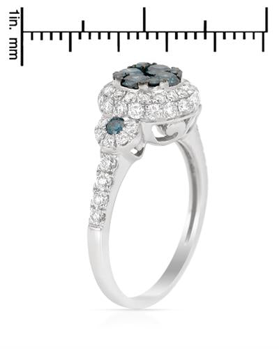Brand New Ring with 1.34ctw of Precious Stones - diamond and diamond 14K White gold