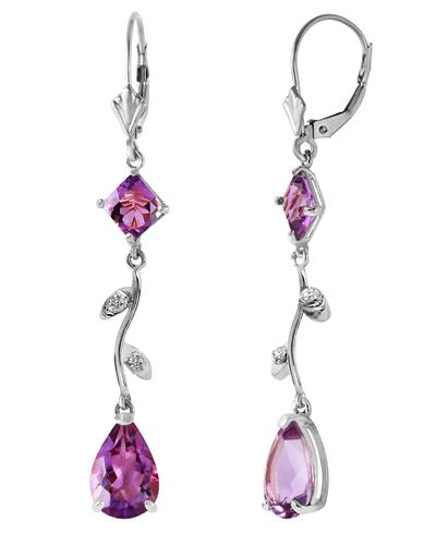 Magnolia Brand New Earring with 3.97ctw of Precious Stones - amethyst and diamond 14K White gold