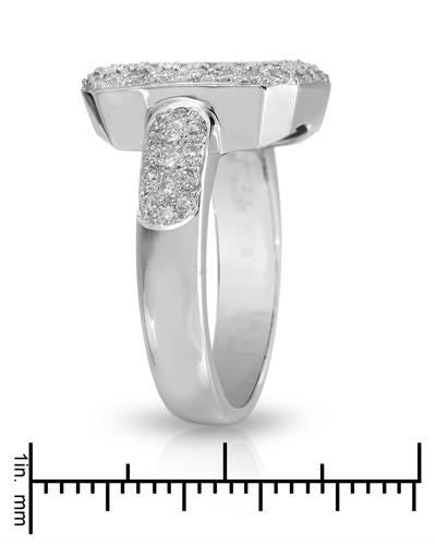 Brand New Ring with 1.17ctw of Precious Stones - diamond and diamond 18K White gold