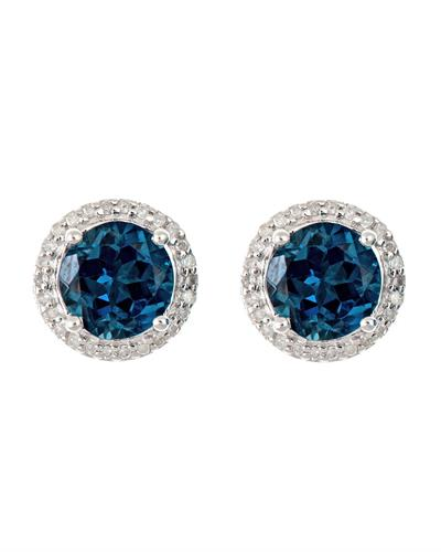 Brand New Earring with 3.26ctw of Precious Stones - diamond and topaz 925 Silver sterling silver