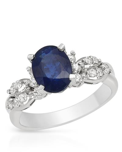 Brand New Ring with 2.41ctw of Precious Stones - diamond and sapphire 14K White gold