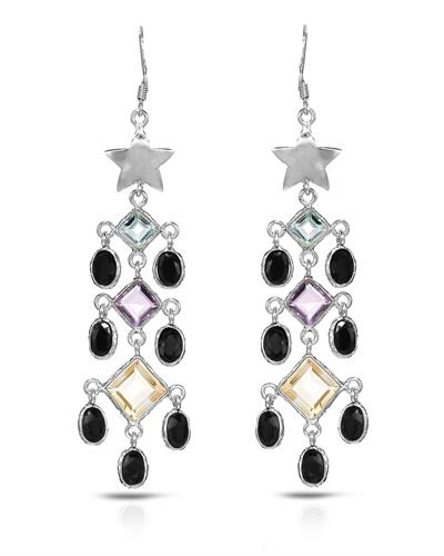 Brand New Earring with 18.1ctw of Precious Stones - amethyst, citrine, sapphire, and topaz 925 Silver sterling silver