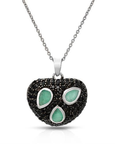 Brand New Necklace with 3.1ctw of Precious Stones - emerald and spinel 925 Silver sterling silver