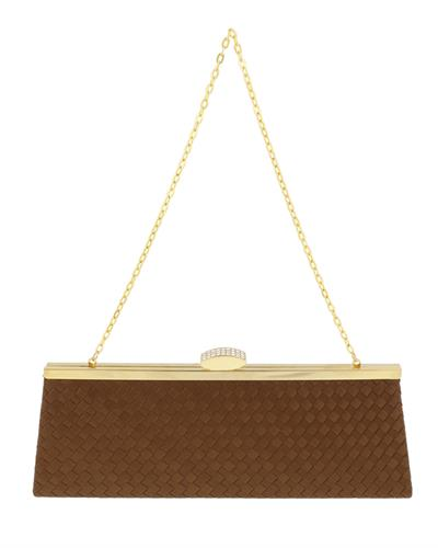 Scheilan Brand New Clutch with 0ctw crystal  Brown Fabric