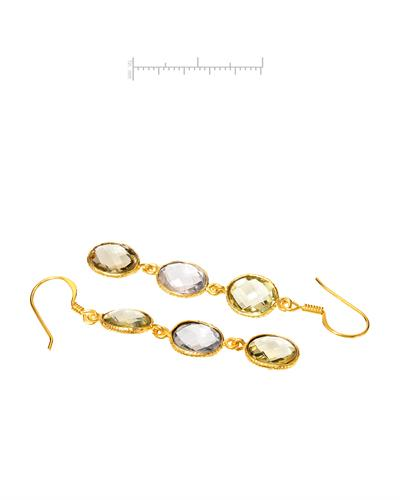 Brand New Earring with 12.6ctw of Precious Stones - quartz and quartz 10K/925 Yellow Gold plated Silver