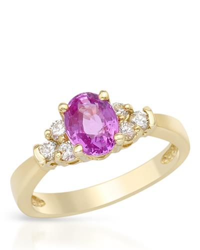 Brand New Ring with 1.46ctw of Precious Stones - diamond and sapphire 14K Yellow gold