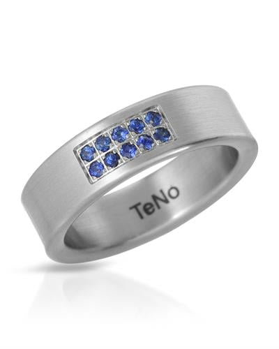 TeNo Brand New Ring with 0.2ctw sapphire  Metallic Stainless steel