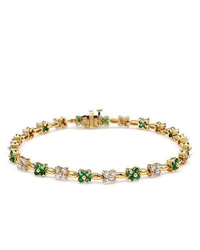 Brand New Bracelet with 2.8ctw of Precious Stones - diamond and emerald 14K Yellow gold