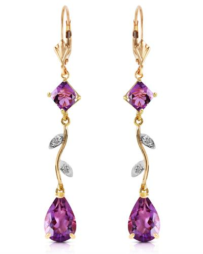 Magnolia Brand New Earring with 3.97ctw of Precious Stones - amethyst and diamond 14K Yellow gold