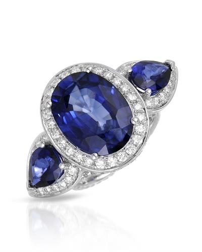 Julius Rappoport Brand New Ring with 14.19ctw of Precious Stones - diamond, sapphire, and sapphire ctr 18K White gold