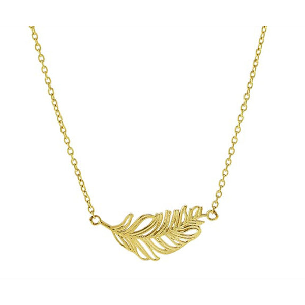 SeChic Brand New Feather Pendant Necklace in 14K Yellow Gold