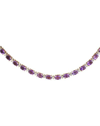 Brand New Necklace with 27.5ctw of Precious Stones - amethyst and diamond 14K White gold