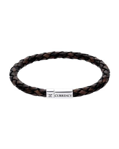 Currency Brand New Bracelet  Brown leather and 925 Silver sterling silver