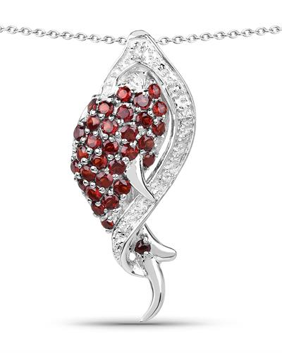 Brand New Necklace with 0.99ctw of Precious Stones - garnet and topaz 925 Silver sterling silver