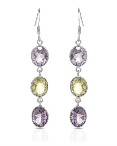 Brand New Earring with 14.35ctw of Precious Stones - amethyst and quartz 925 Silver sterling silver