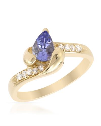 Brand New Ring with 0.81ctw of Precious Stones - diamond and tanzanite 14K Yellow gold