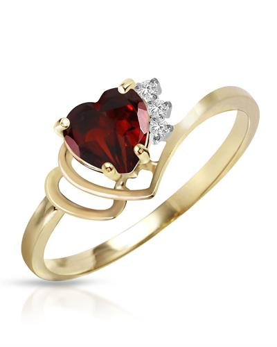 Magnolia Brand New Ring with 0.97ctw of Precious Stones - diamond and garnet 14K Two tone gold