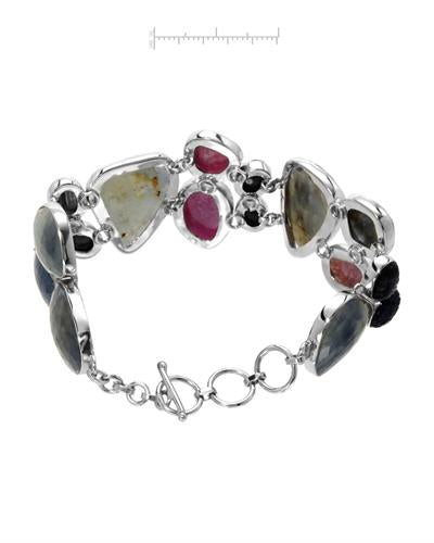 Brand New Bracelet with 124.69ctw sapphire 925 Silver sterling silver