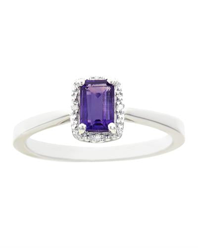Brand New Ring with 0.56ctw of Precious Stones - amethyst and diamond 925 Silver sterling silver