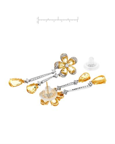 Brand New Earring with 9.95ctw of Precious Stones - beryl and diamond 18K Two tone gold