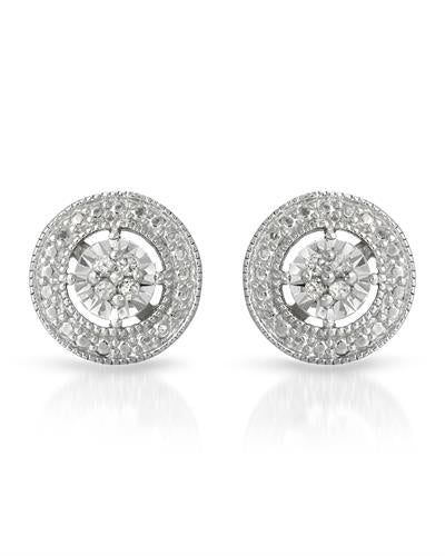 Brand New Earring with 0.1ctw diamond 925 Silver sterling silver