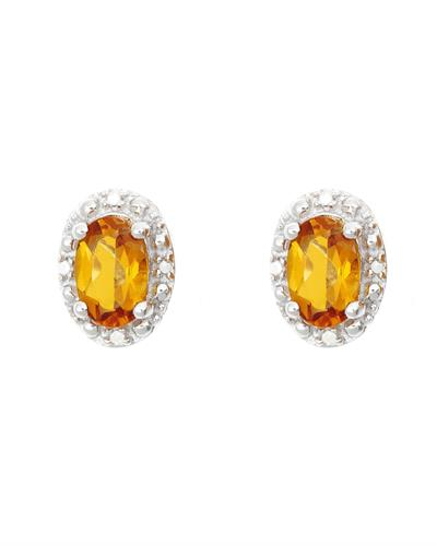 Brand New Earring with 0.92ctw of Precious Stones - citrine and diamond 925 Silver sterling silver