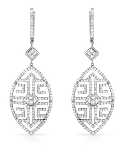 Brand New Earring with 3.07ctw of Precious Stones - diamond and diamond 18K White gold