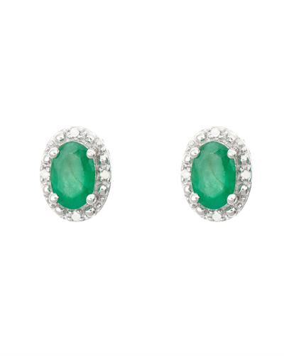 Brand New Earring with 0.92ctw of Precious Stones - diamond and emerald 925 Silver sterling silver
