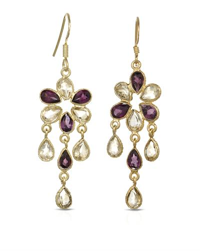 Brand New Earring with 8.5ctw of Precious Stones - garnet and quartz 10K/925 Yellow Gold plated Silver