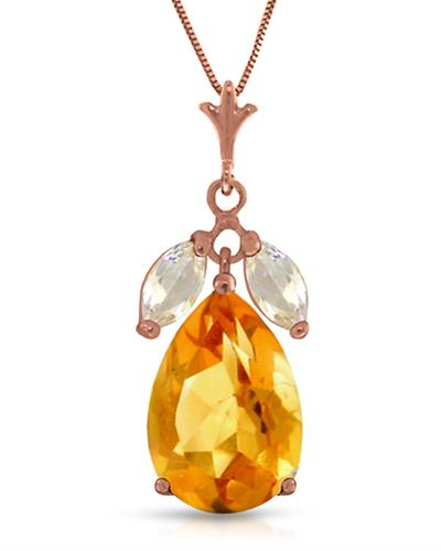 Magnolia Brand New Necklace with 6.5ctw of Precious Stones - citrine and topaz 14K Rose gold