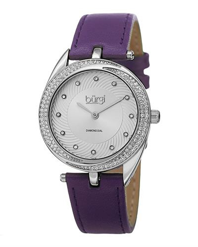 burgi BUR122PU Brand New Japan Automatic Watch with 0.06ctw of Precious Stones - crystal and diamond
