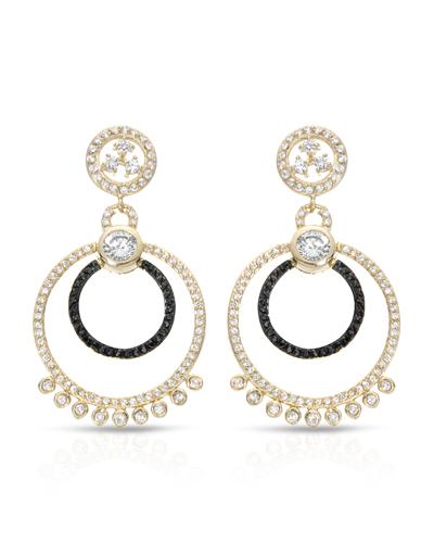 Brand New Earring with 0ctw cubic zirconia 14K/925 Yellow Gold plated Silver