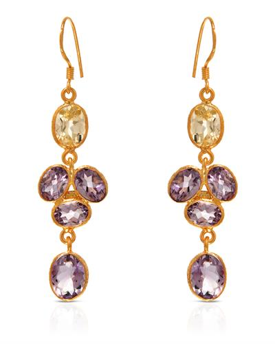 Brand New Earring with 10.05ctw of Precious Stones - amethyst and quartz 10K/925 Yellow Gold plated Silver