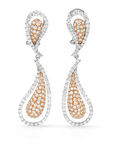 Brand New Earring with 3.01ctw diamond 18K Two tone gold