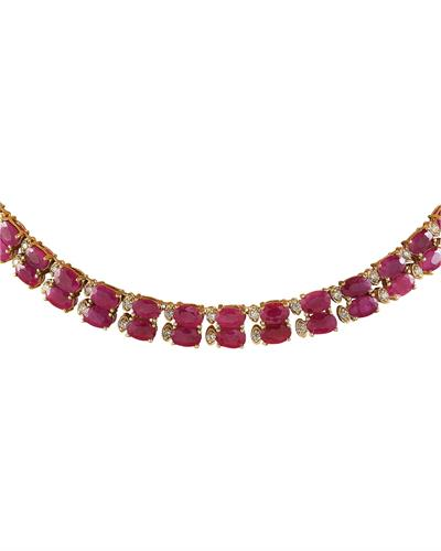 Brand New Necklace with 64.3ctw of Precious Stones - diamond and ruby 14K Yellow gold