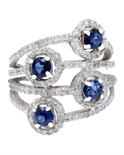 2.5 Carat Natural Sapphire 14K Solid White Gold Diamond Ring