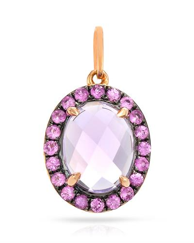 Brand New Pendant with 1.93ctw of Precious Stones - amethyst and sapphire 14K Rose gold