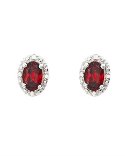 Brand New Earring with 1.12ctw of Precious Stones - diamond and garnet 925 Silver sterling silver