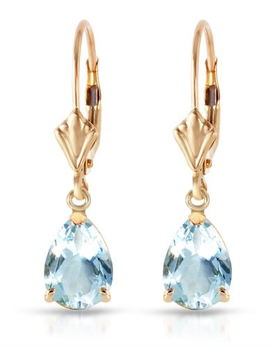 Magnolia Brand New Earring with 2.85ctw aquamarine 14K Yellow gold